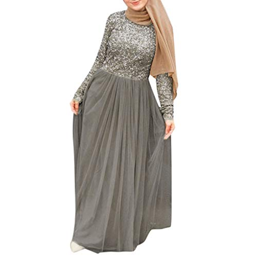 Women's Slim Ethnic Style Noble Maxi Dress Elegant Evening Long Dress Muslim Cocktail Party Dress Cute Sequined Ball Gown (XXXXL, Gray)