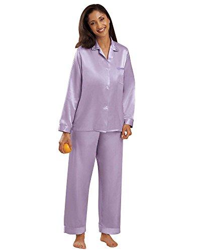 National Brushed Back Satin Pajamas, Lilac, 1X - Misses, Womens