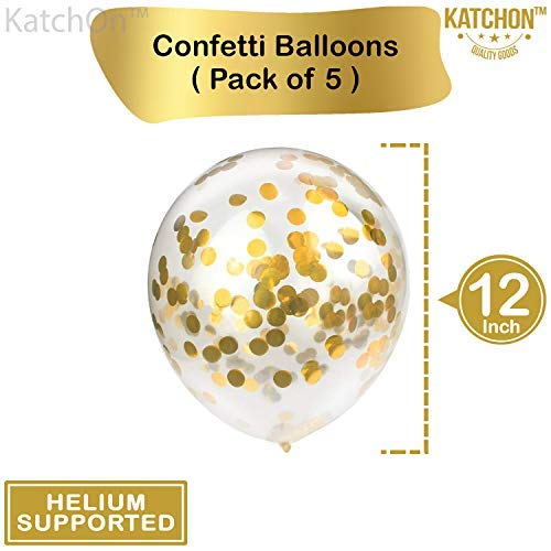KatchOn Number 21 and Gold Confetti Balloons 40 Inch Foiil Gold Balloons 12 Inch 21st Birthday Party Decorations Large Party Supplies for Anniversary D/écor 5 Gold Confetti Balloons