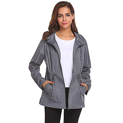 Blouse Femme Hiver Femme Gris Manches Tops Tops Sweat Longues Courtes Shirt Capuchon Outside Tops Sweat Manches Pluie POTTOA impermable de Ray impermable Manteau Pull lger Chemise Casual 486vwRq