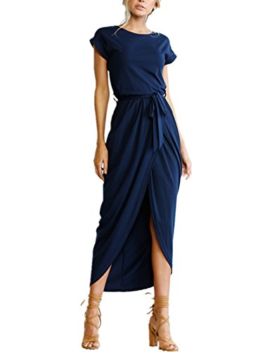 2017 Women's Summer Short Sleeve Slim Fit Sexy Split Midi Bodycon Pencil Dress,Navy Blue,X-Large (Dress Blue Wrap Navy)