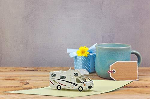 41q%2BufCXMTL Geburtstagskarte mit Pop Up Wohnmobil   Karte Geburtstag mit 3D Wohnwagen als Reisegutschein   Gutschein Urlaub…