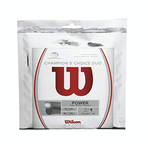 Wilson Champions Choice Duo Hybrid (Natural Gut/ALU Power Rough) Combo Tennis String Sets 2-Pack (2 Sets Per Order) - Best for Power, Comfort and Control ()