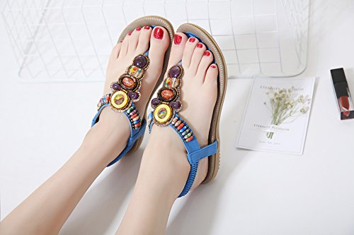Post Plage Femmes Tongs Ronde Bleu Peep Bohème Ruiren Sandales Toe Plates Elastiques Pour Eté Perle Dames Les Chaussures P7nzHq4zS