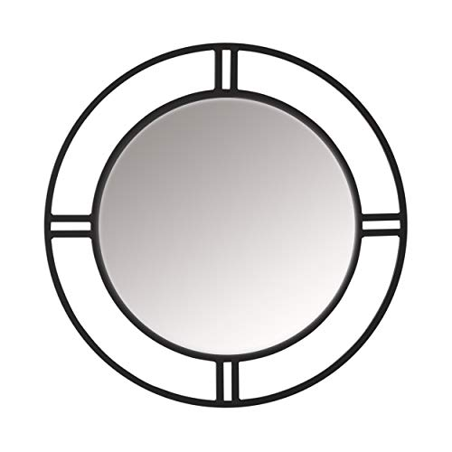 Glass Pewter Mirror - Studio Designs Home Camber Modern Metal Dual Frame Round 30