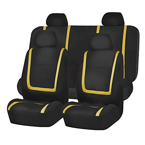 FH Group FB032YELLOW114 Yellow Unique Flat Cloth Car Seat Cover (w. 4 Detachable Headrests and Solid Bench) by FH Group