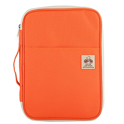 JAKAGO Warterproof Travel Portfolio Carrying Cases Passport Holder Tablet Sleeve Storage Bag Document Organizer for Travel Office Business Holiday Meeting Interview (Orange)
