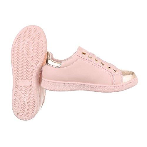 Ital-Design Sneakers Low Damenschuhe Schnürsenkel Freizeitschuhe Rosa 2018-23