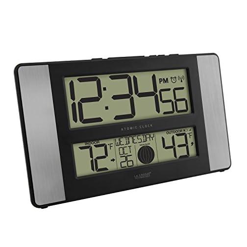 La Crosse Technology 513-1417AL-INT Atomic Clock w Outdoor Temp, Grey/Black