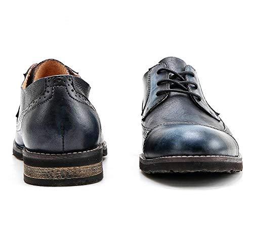 Size Hommes De Marque Blue Blue Motifs Carve Color EU Bullock Vache La Main Cuir 40 Mâle Chaussures Mode Plat Oxford À Peau Personnalisé Chaussures MXNET pour en Design OSqng1