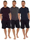 Mens T-Shirt Top & Shorts Pyjama Set Loungewear Cotton S-XL (1 or 3 Pack) (Large, HT331C 3 Pack)