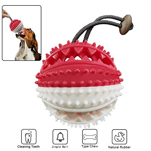 Dog Chew Toys Interactive Treat Ball with Bell Toothbrush Teeth Cleaning Durable Rope Tug of War Exercise Game Safe Training Small Medium Dogs NorthCourtSilkRoad
