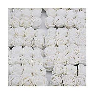 HANBINGPO 36/72/144pcs 2cm Decorative Teddy Bear Rose PE Foam Artificial Flower Bouquet for Home Wedding Decoration DIY Wreath Fake Flower,White,36pcs 83