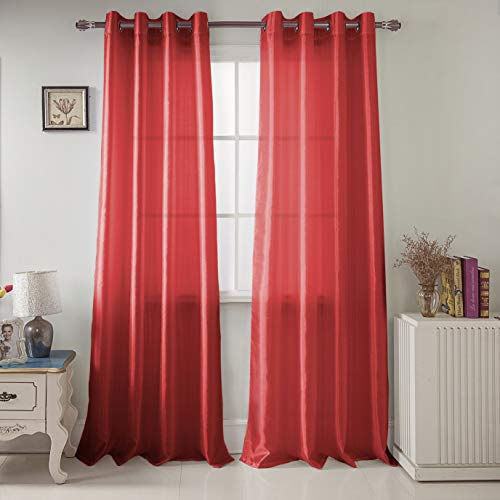 RT Designers Collection Nancy Faux Silk 54 x 84 in. Grommet Curtain Panel, Red ()