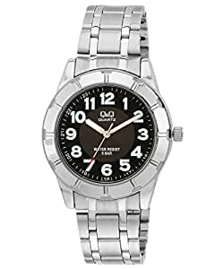 Q&Q Men Stainless Steel Watch Black Dial with Numbers