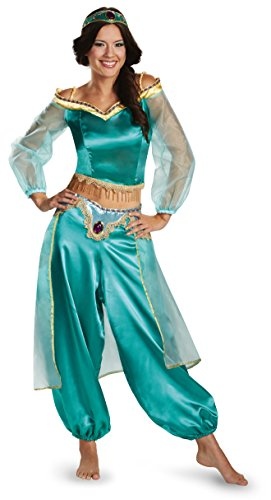 Halloween 2017 Couples Costume Ideas - Disguise Women's Disney Aladdin Jasmine Sassy Prestige Costume, Green, Small 4-6