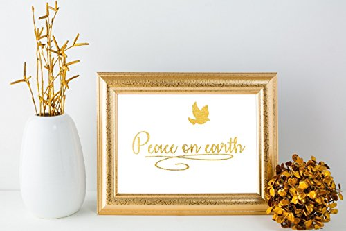 Peace on Earth | Gold Foil Art Print Wall Decor Poster 8x10 Inches **FLASH SALE**
