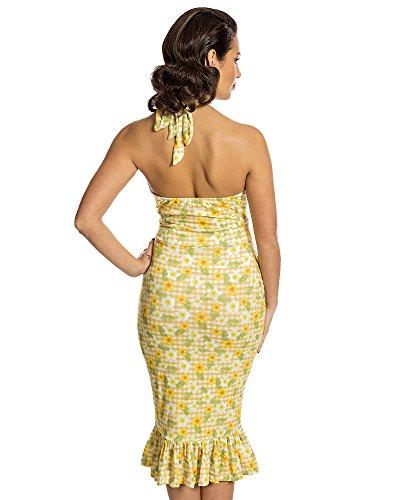 - Lindy Bop 'Missy' Yellow Gingham Floral Print Pencil Dress Size - 3XL