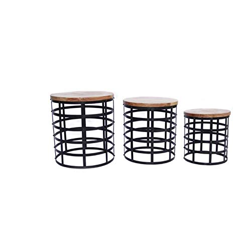 3 Piece Nesting Iron Base End Tables - End Table with Acacia Wood Top - Brown (Square Tables Nesting Iron)