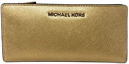 3287f8a34d67f Amazon.com  Michael Kors Jet Set Travel Large Card Case Carryall Leather  Wallet in Gold  Brandy Collection