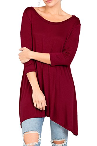 Love In T2411 3/4 Sleeve Round Neck Relaxed A-Line Tunic T Shirt Top Burgundy S by Love In (Image #3)