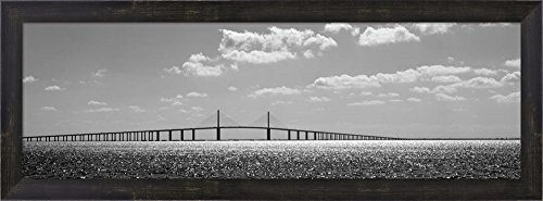 (Bridge across a bay, Sunshine Skyway Bridge, Tampa Bay, Florida by Panoramic Images Framed Art Print Wall Picture, Espresso Brown Frame, 30 x 11 inches)