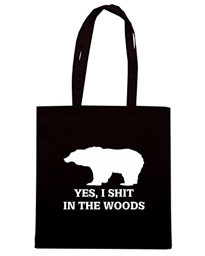 T-Shirtshock - Bolsa para la compra FUN0723 bear shit in the woods hunt vinyl decal sticker 22058 Negro