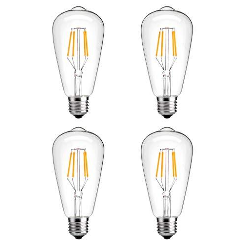 Modvera LED Vintage Edison Edison Bulb 4 Watt - 40W Equivalent Squirrel Cage Filament Clear Glass - ST58 Color Temperature Vintage Warm White 2700K E26 Base Dimmable Wall Light UL -