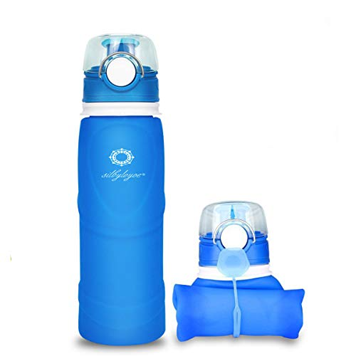 silbyloyoe Silicone Water Bottle Foldable Collapsible Anti Leakage with Leak Proof Valve Bottles Travel Outdoor Sports Lightwight Portable BPA Free Medical Food Grade 26 Ounce (Blue)