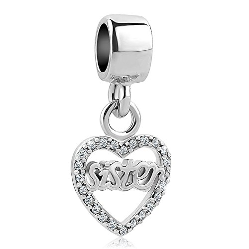 SexyMandala Heart Love Mum/Sister/Friend/Niece/Family Bead For European Bracelets (Pandora Sister Charm)