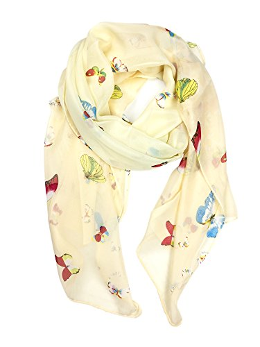 YOUR SMILE Lightweight Scarf Fashion Flower Print Shawl Head Wraps For Women For Spring Summer Season (Beige Butterfly)