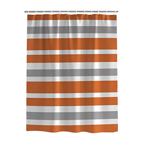 orange and grey shower curtain - 1