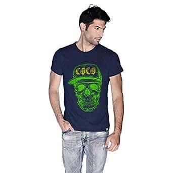 Creo Green Yellow Coco Skull T-Shirt For Men - Xl, Navy Blue