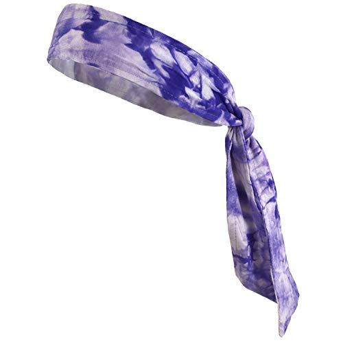 Headbands Tie on Headband for Women Men Running Athletic Hair Head Band Elastic Sports Sweat Basketball Sweatband Stetchy Yoga Workout Sweatbands Adjustable Non-Slip Moisture Wicking (Purple Tie Dye)