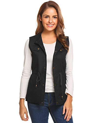 Aimage Womens Lightweight Stand Collar Snap Button Drawstring Pockets Vest Gilets Black