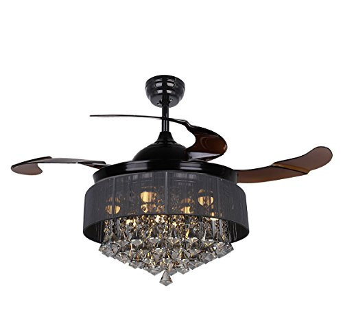 Black Crystal Ceiling Light (Parrot Uncle Ceiling Fans with Lights 42