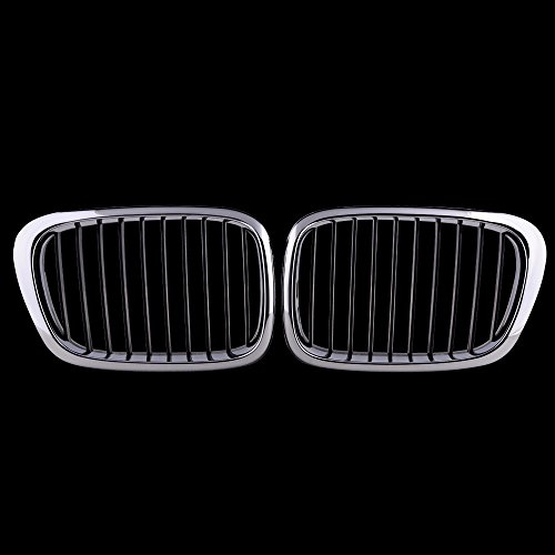 Price comparison product image 2x Euro Front Center Kidney Grille Grill For 97-03 BMW E39 5-Series 525 528 530 535 540 M5 4DR 4 Door (Chrome Black)