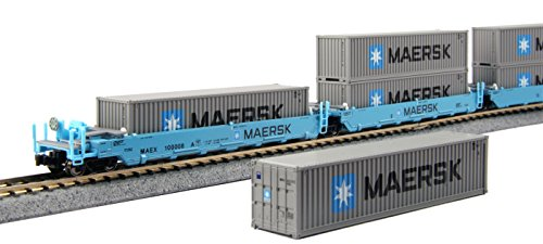 kato-usa-model-train-products-100008-n-gunderson-maxi-i-double-stack-5-unit-well-car-maersk-train