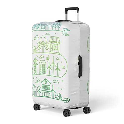 Pinbeam Luggage Cover Infographic in Linear City Alternative Energy Generators Travel Suitcase Cover Protector Baggage Case Fits 26-28 inches