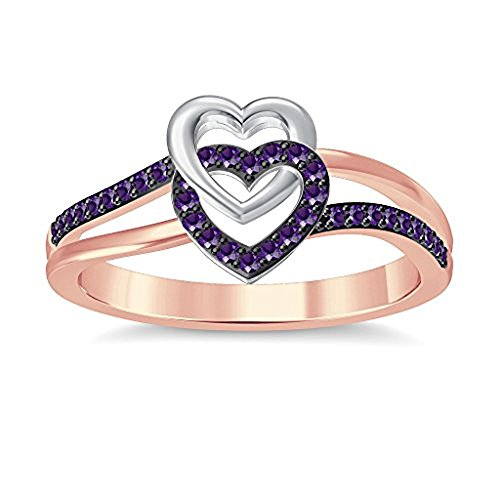 Lovely Two Tone Gold Plated Purple Amethyst Intertwined Double Hearts Shape Promise Ring