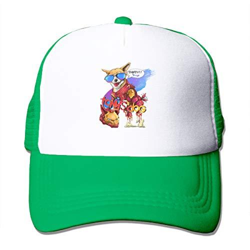 AiguanSuper Heros Tony's Dog Sun Protection Adjustable Caps Quick Dry Mesh Hat Green