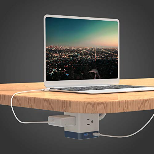 BESTEK USB Power Strip Travel Cube 3-Outlet and 4 USB Charging Station with Mountable Detachable Base, 5 Feet Extension Cord,Flat Plug,1875W,ETL Listed,Dorm Room Accessories by BESTEK (Image #3)