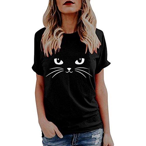 (Women Casual T-Shirts Cute Cat Print Tee Tops Short Sleeve Ladies Blouse (Black, M))