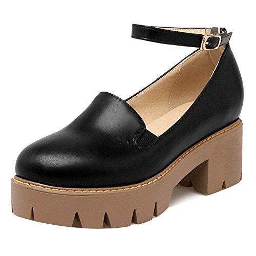 TAOFFEN Women's Classical Ankle Strap Heels Court Shoes Black P4jmlV