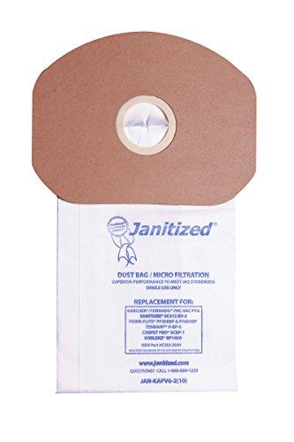 Janitized JAN-KAPV6-2(10) Reward Replacement Vacuum Paper Bag, Sanitaire SC412, Karcher\Tornado PV6, Cleanmax CMBP-6, Tennant V-BP-6, Power-Flite PF300/600BP, OEM#CMBP-10, C352-2500 (Company of 10)
