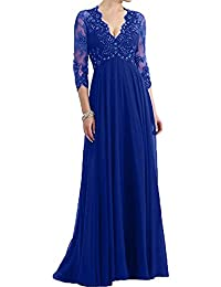 MILANO BRIDE Modest Mother of Bride Dress Prom Gown Sleeves V-neck Empire-Waist