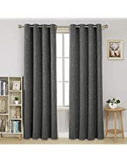 Deconovo Blackout Curtains Embossed Leaves Window Treatment Thermal Insulated Energy Efficiency Super Soft Eyelet Room Darkening Curtains