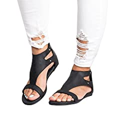 da02b2097 Womens Flat Sandals Open Toe Gladiator Ankle Buckle with Back Zipper ...