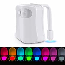 Toilet Night Light, MECO Motion Activated Toilet Night light 8 Colors Changing Toilet Bowl Light Battery Operated Toilet Seat Night light for Bathroom Kids Midnight Potty Training