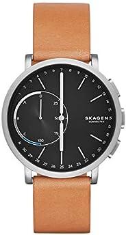 Skagen Connected Men's Hagen Titanium and Leather Hybrid Smartwatch, Color: Silver-Tone, Tan (Model: SKT1